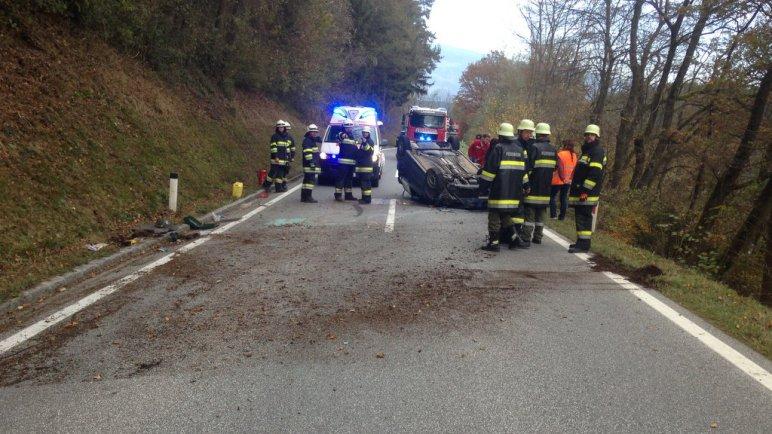 Auto überschlug sich – B80 Lavamünder Bundesstraße
