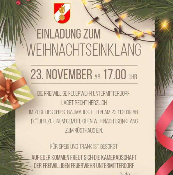 Christbaumaufstellen und Weihnachtseinklang